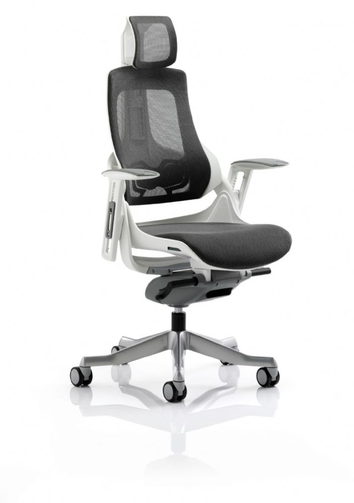 Zure Executive Task Chair Orthopaedic Designed Office Seat & Back in Black Mesh Headrest